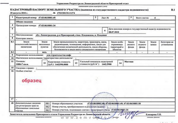 Первая страница кадастрового паспорта